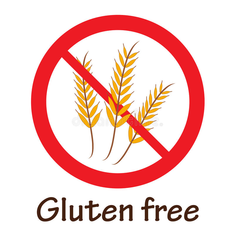 Gluten-free symbol. Gluten free red prohibition symbol illustration with text stock illustration