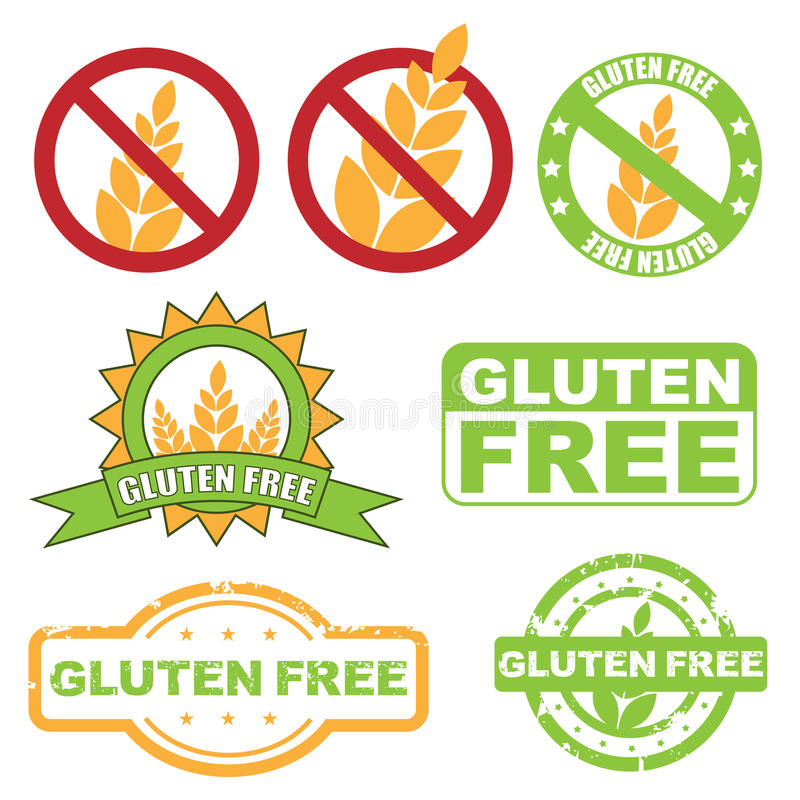 Gluten free symbol. Set of seven gluten free symbols isolated on white background. EPS file available