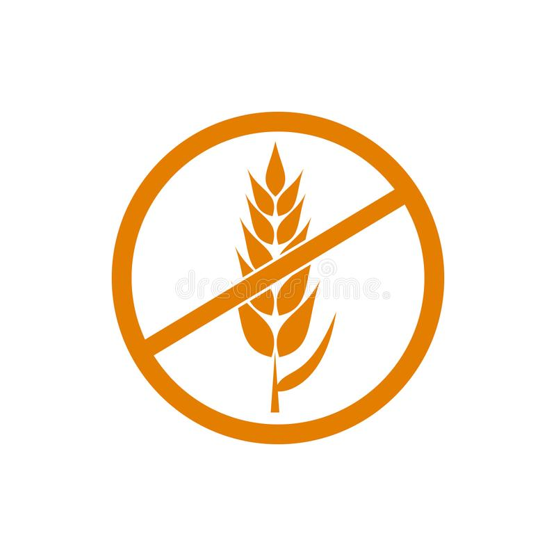 Gluten Free VECTOR Orange Icon, Wheat Free Products Packaging Label Background. Gluten Free VECTOR Orange Icon, Wheat Free Products Packaging Label Isolated on vector illustration