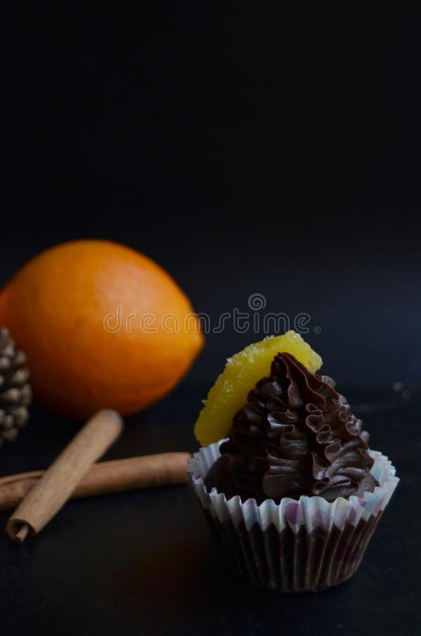 Gluten free vegan chocolate muffins. With Christmas flavors: orange and cinnamon. Food for your soul stock photography