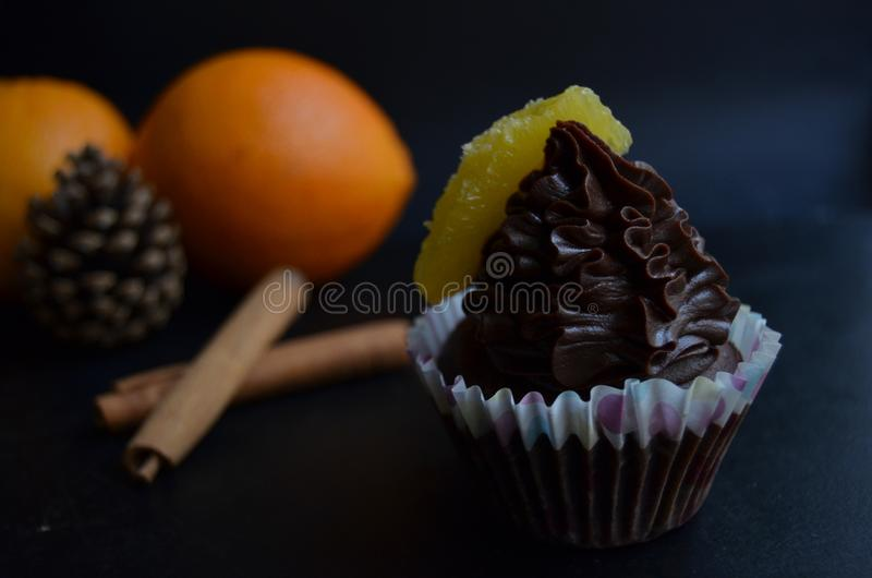 Gluten free vegan chocolate muffins. With Christmas flavors: orange and cinnamon. Food for your soul royalty free stock photo