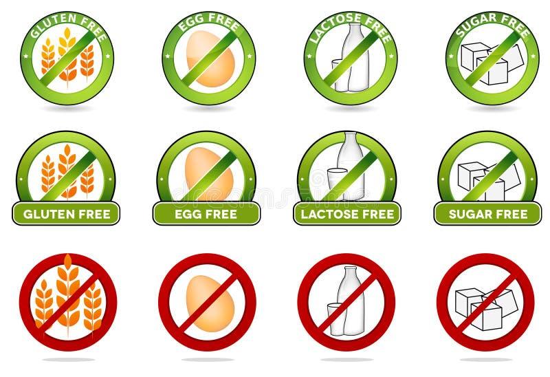 Gluten geben frei, das Ei frei, laktosefrei und der freie Zucker vektor abbildung