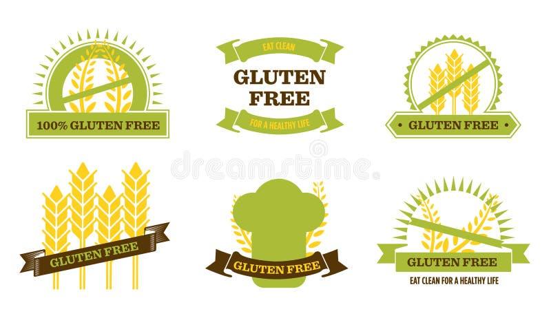 Gluten gratuit - insignes illustration stock