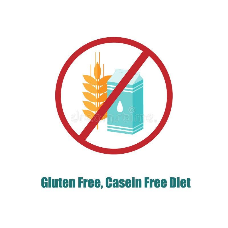 Gluten i kazeina uwalniamy ikonę Crosed znak z paczką dojny i pszeniczny ucho royalty ilustracja