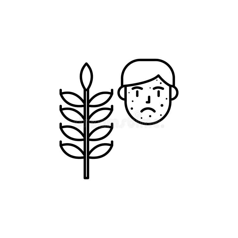 Gluten, icône allergique de visage Élément des problèmes avec l'icône d'allergies Ligne mince icône pour la conception de site We illustration de vecteur