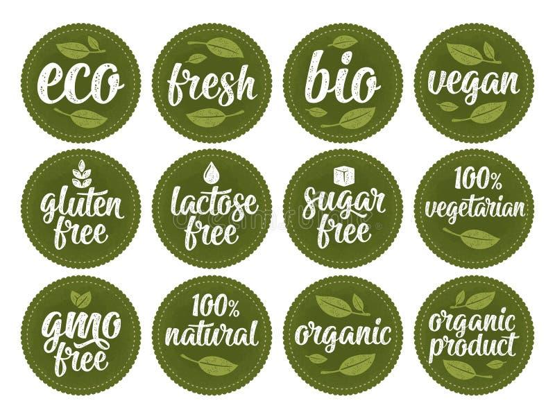 Gluten, lactosa, azúcar, Gmo libre, bio, eco, fresco, vegano, letras caligráficas vegetarianas con la hoja, cubo, descenso Blanco libre illustration