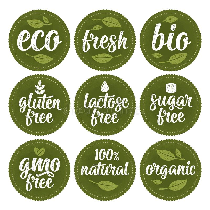 Gluten, lactose, sugar, Gmo free, bio, eco, fresh calligraphic handwriting lettering with leaf, cube, drop. Vector white vintage stock illustration