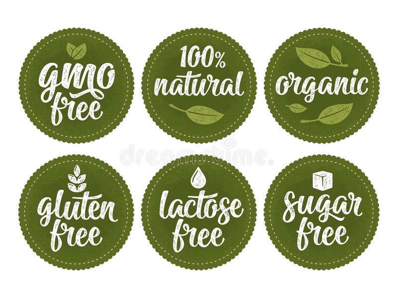Gluten, lactose, sugar, gmo free lettering. Sign 100 natural organic food royalty free illustration