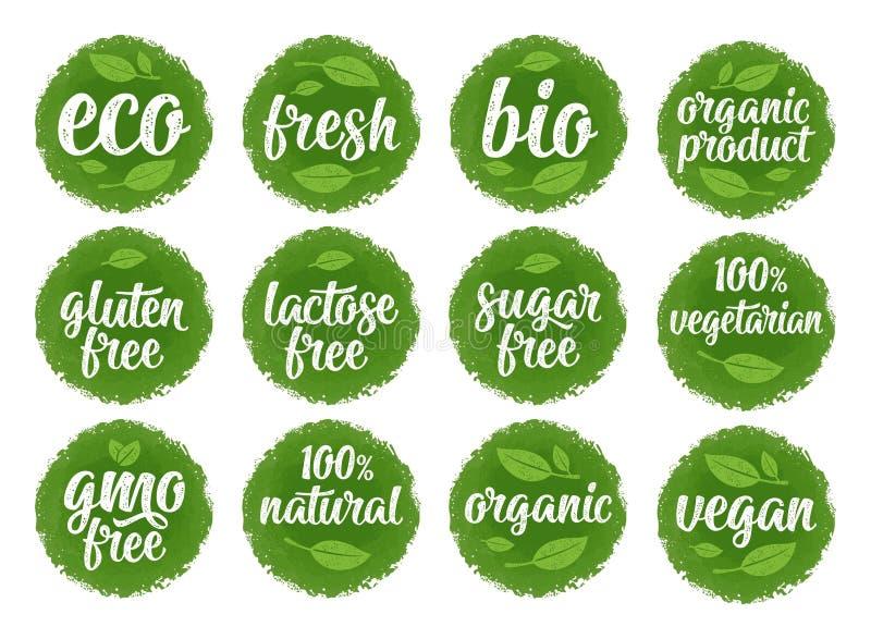 Gluten, Laktose, Zucker, GVO frei, Bio, eco, frisch, strenger Vegetarier, vegetarische kalligraphische Beschriftung mit Blatt, Wü stock abbildung
