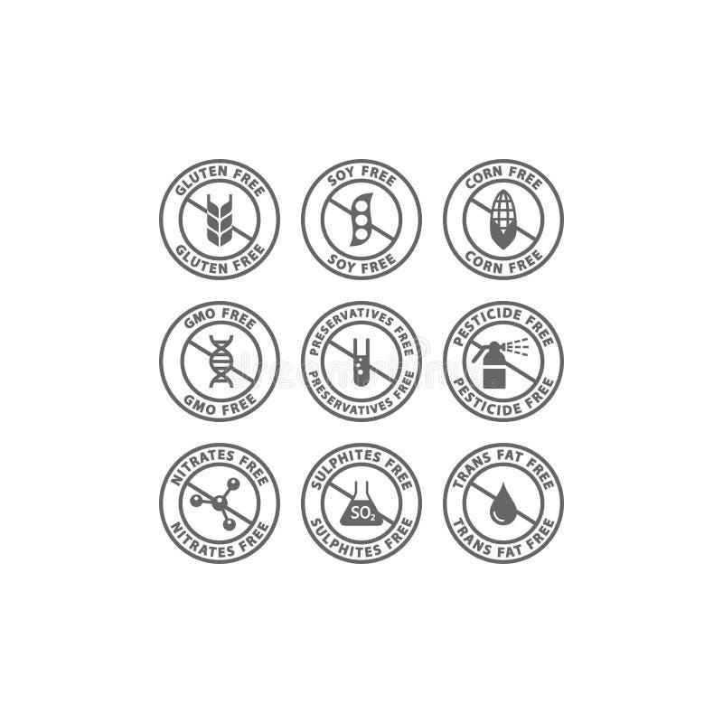 Gluten, soja, etiqueta sin grasa del vector del transporte Maíz, preservativos, iconos negros libres del sello del círculo del gm libre illustration