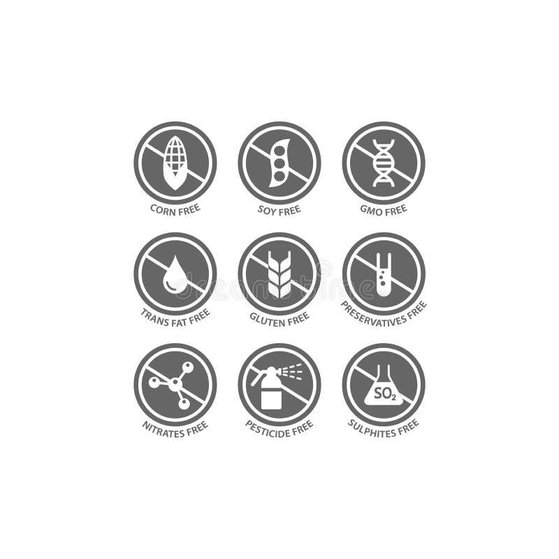 Gluten, soja, trans vette vrije vectoretiketreeks Graan, bewaarmiddelen, gmo vrije zwarte zegelpictogrammen vector illustratie
