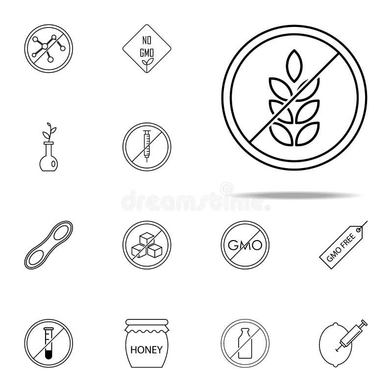 Gluten Vrij Pictogram GMO-voor Web wordt geplaatst dat en mobiel pictogrammenalgemeen begrip stock illustratie