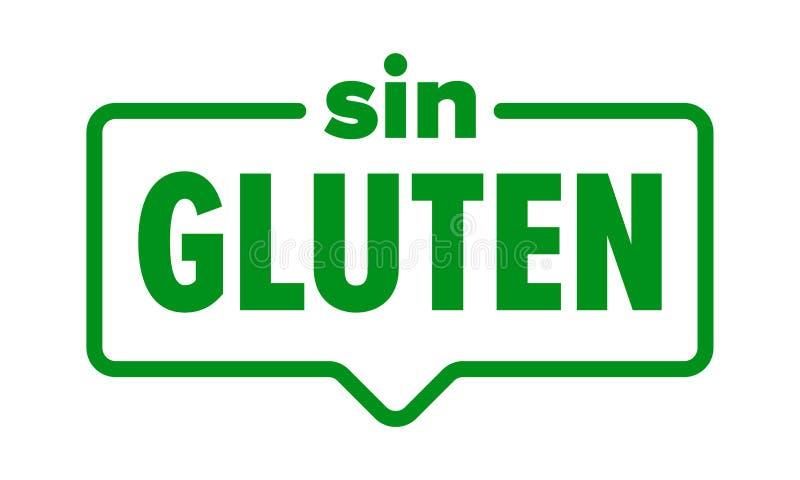 Gluten vrij pictogram, het Spaanse etiket van het de voedingsmiddelenpakket van het Zondegluten Vector geen glutenverbinding royalty-vrije illustratie