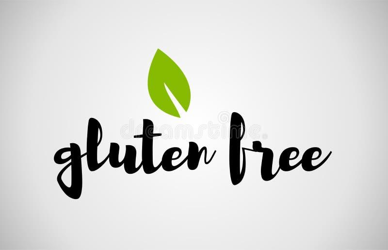 glutenu bezpłatnego zielonego liścia teksta bielu ręcznie pisany tło ilustracja wektor