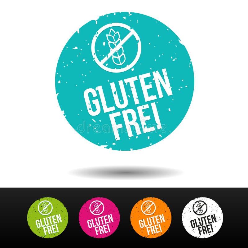 Glutenu bezpłatny znaczek z ikoną przekład: Glutenu frei Stempla mit ikona - Eps10 Wektorowy guzik royalty ilustracja