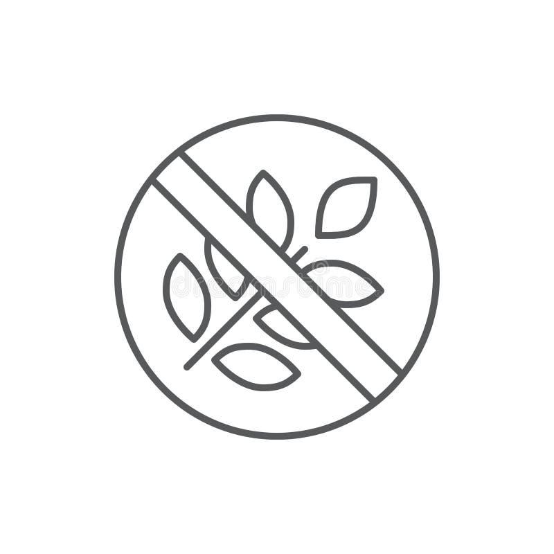 Glutenu prouduct bezpłatnej diety editable symbol - piksel perfect ikona z krzyżującym ucho odizolowywającym na białym tle banatk ilustracja wektor