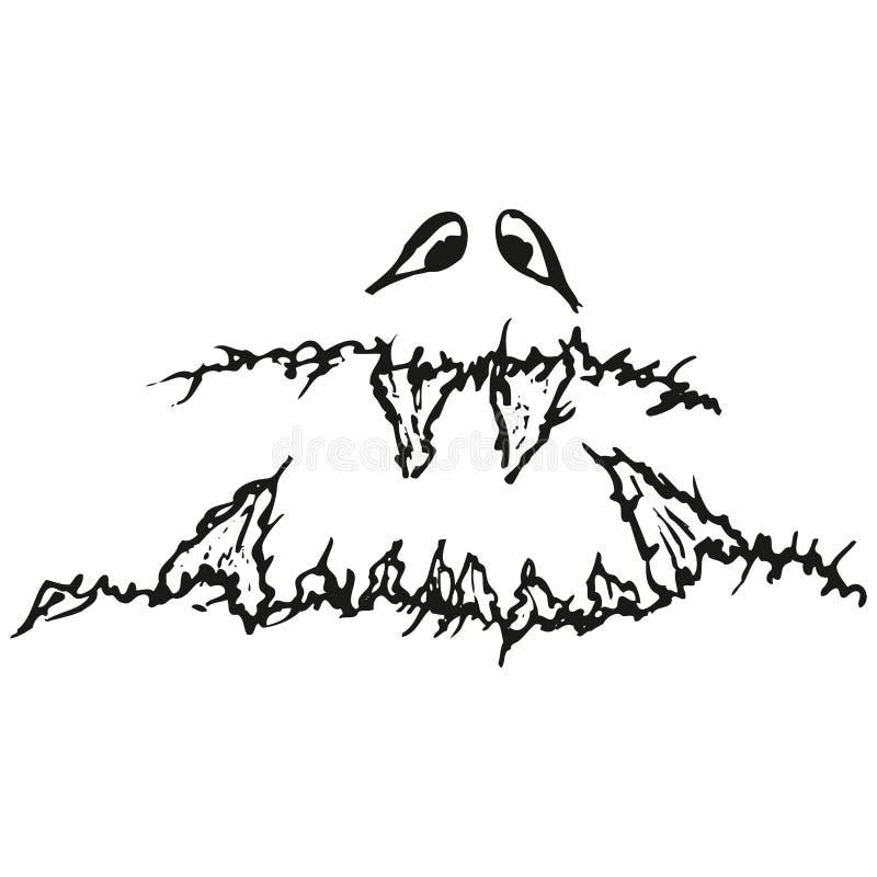 Glutton affamé triste stylisé abstrait de B&W illustration libre de droits