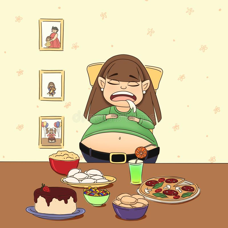Glutton girl visiting her beloved grandmother. Homemade food. The tastiest food. Homeliness, photos. Pizza, pies, chocolate cake with strawberries, dumplings royalty free illustration