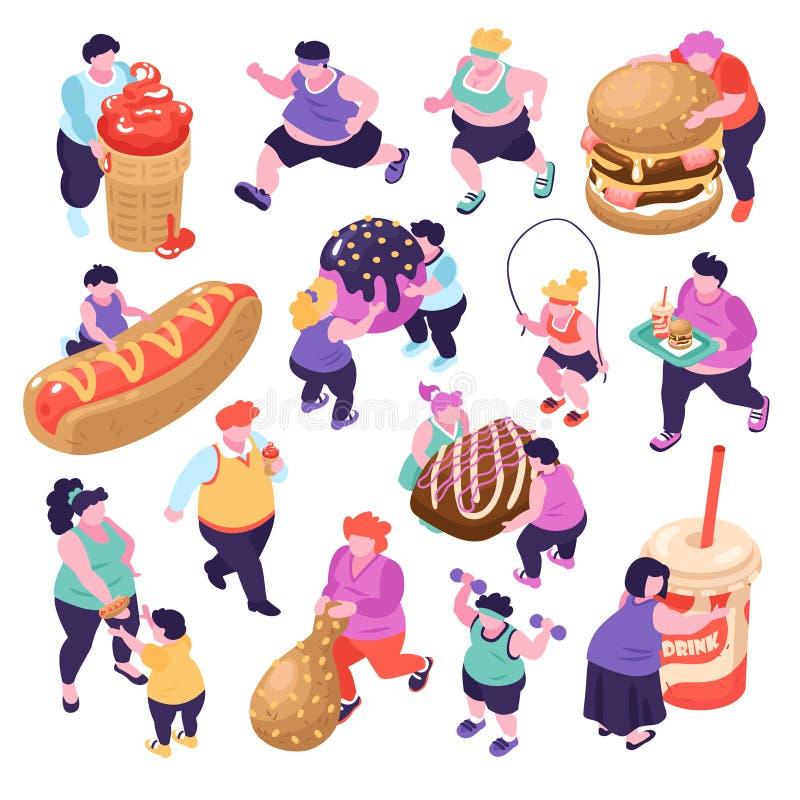 Gluttony Isometric Icons Set royalty free illustration