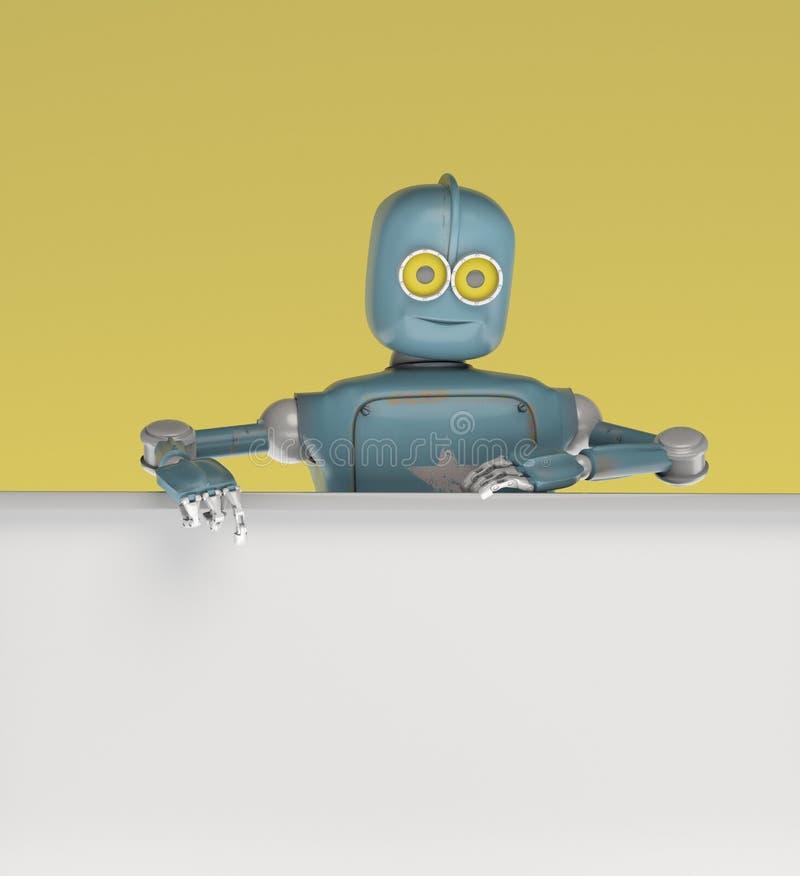 Gluurt robot retro vitage uit van achter de murenbanner stock illustratie