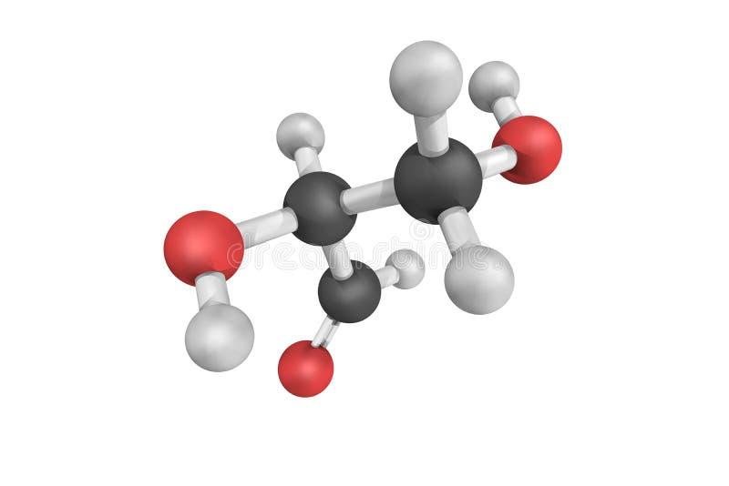 (Glyceral) Glyceraldehyde, een zoet, kleurloos, kristallijn vast lichaam stock foto