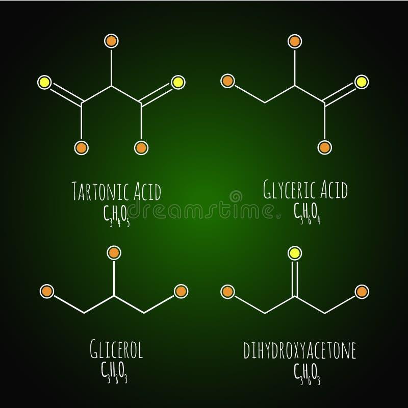 Glycerol, gliceric acid, tartonic acid structural chemical schemes and formulas. Vector illustration royalty free illustration