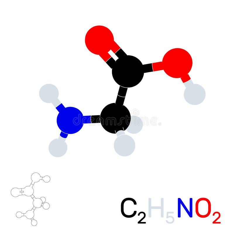 Glycine modelmolecule Geïsoleerdj op witte achtergrond Zieke vector vector illustratie