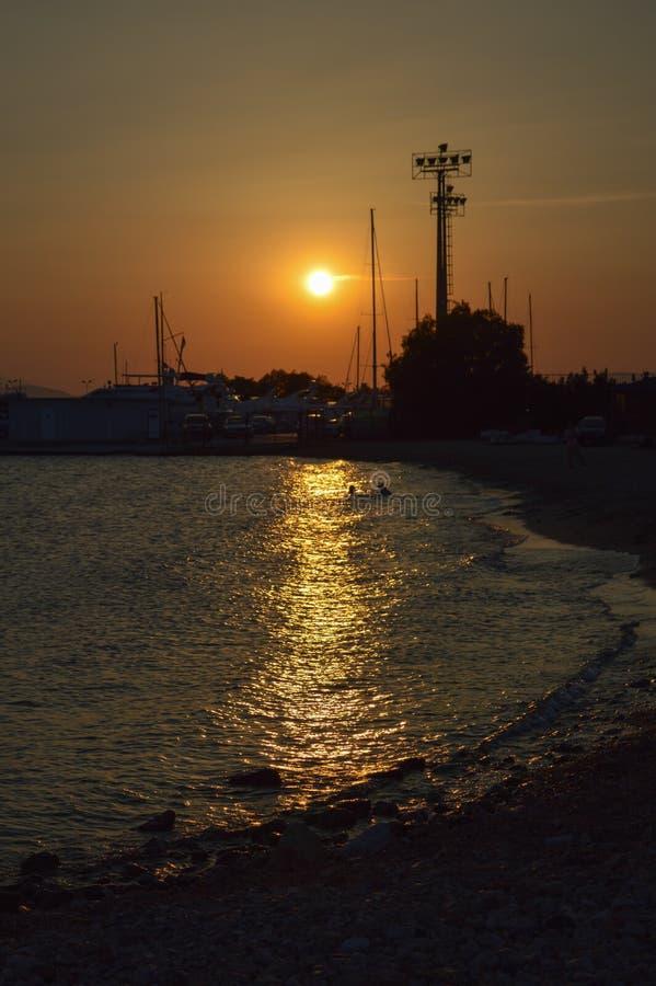 Glyfada night seashore in Glyfada, Athens, Greece on June 14, 2017. ATHENS, GREECE - JUNE 14: Glyfada night seashore in Glyfada, Athens, Greece on June 14, 2017 royalty free stock photo