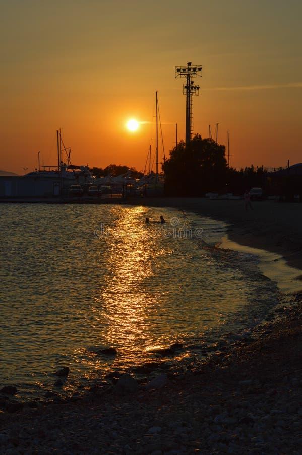 Glyfada night seashore in Glyfada, Athens, Greece on June 14, 2017. ATHENS, GREECE - JUNE 14: Glyfada night seashore in Glyfada, Athens, Greece on June 14, 2017 stock image