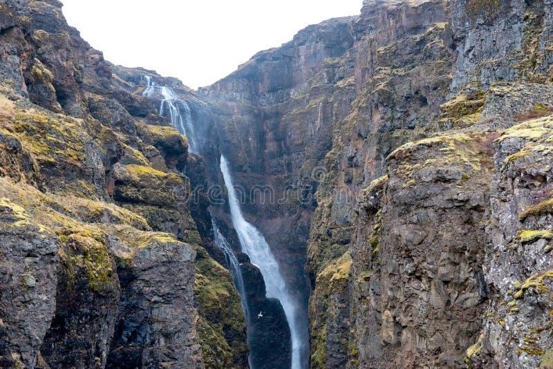 Glymur vattenfall på våren royaltyfria foton