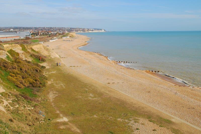 Glyne Gap strand, Sussex arkivbild
