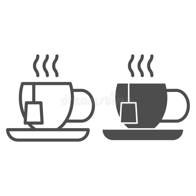 Γραμμή και glyph εικονίδιο φλυτζανιών τσαγιού Κούπα τη διανυσματική απεικόνιση τσαντών τσαγιού που απομονώνεται με στο λευκό Καυτ διανυσματική απεικόνιση