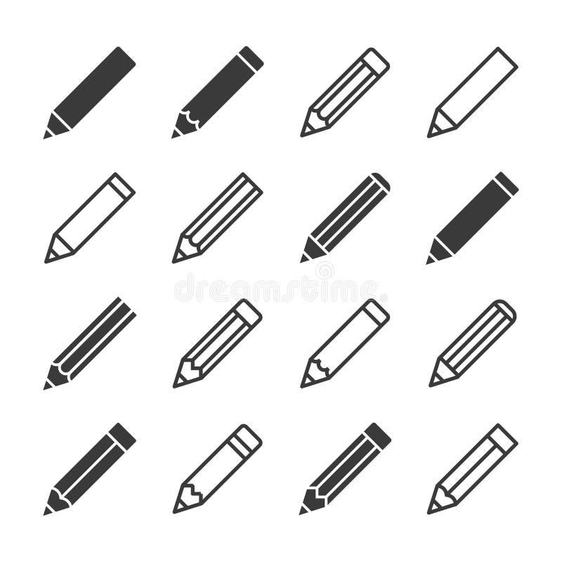 Glyph d'icônes de crayon de vecteur et style d'ensemble illustration stock