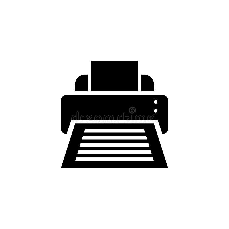 Glyph del icono de impresora o ejemplo sólido del vector del estilo libre illustration