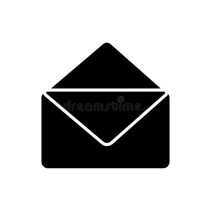 Glyph-E-Mail-Ikone Vektorgraphikillustration des E-Mail-Symbols lokalisierte einfache stock abbildung