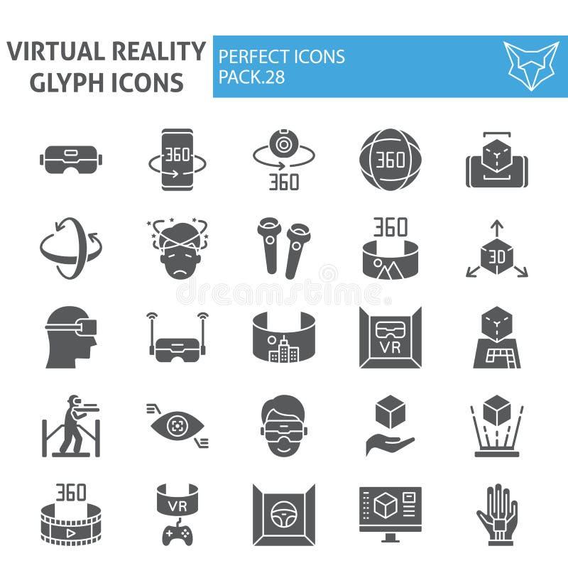 Glyph-Ikonensatz der virtuellen Realität, vergrößerte Wirklichkeitssymbole Sammlung, Vektorskizzen, Logoillustrationen, Spiel vektor abbildung