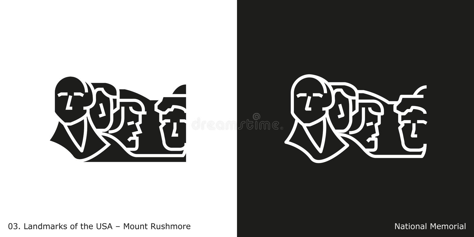 Mount Rushmore National Memorial Icon vector illustration