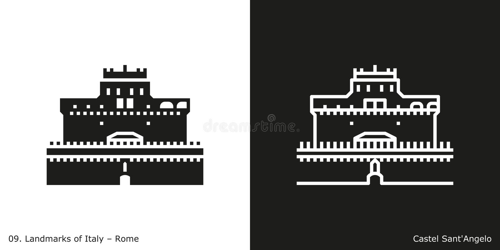 Castel Sant`Angelo Icon. Glyph and line style icon of Rome`s famous landmark building royalty free illustration