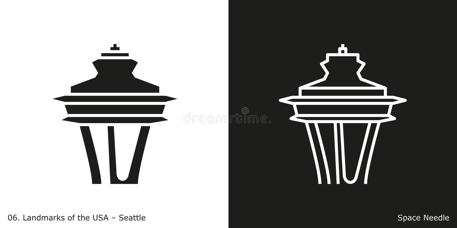 Space Needle in Seattle vector illustration