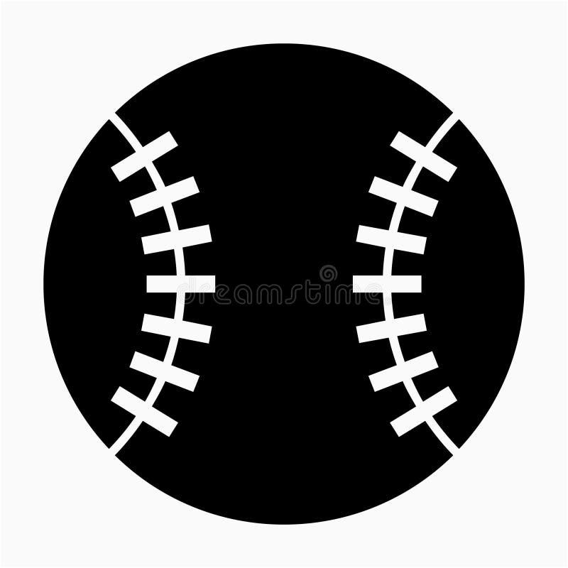 Glyph-schöne Baseballball-Vektorikone lizenzfreie abbildung