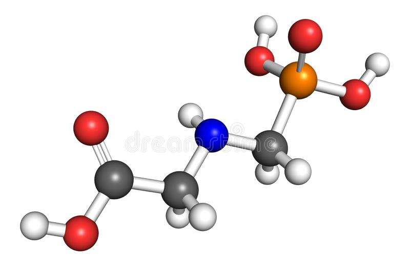 Glyphosate molecule. Glyphosate is a widely used broad-spectrum herbicide. Ball and stick model, conventional atom colouring stock illustration