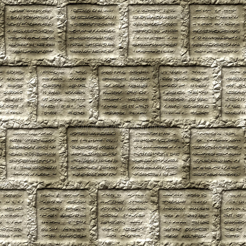 Glyphs. Ancient generic glyphs in rock royalty free illustration