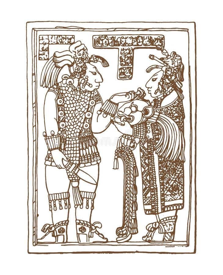 Glyphs gráficos do maya do vintage, inca e ornamento astecas e símbolos do zodíaco no estilo indiano americano velho Vetor ilustração stock