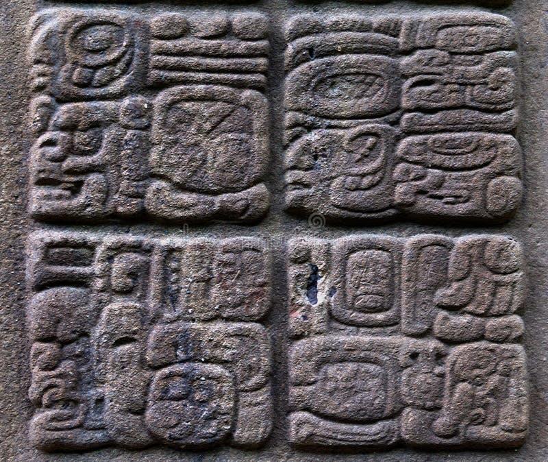 Glyphs maias antigos fotografia de stock