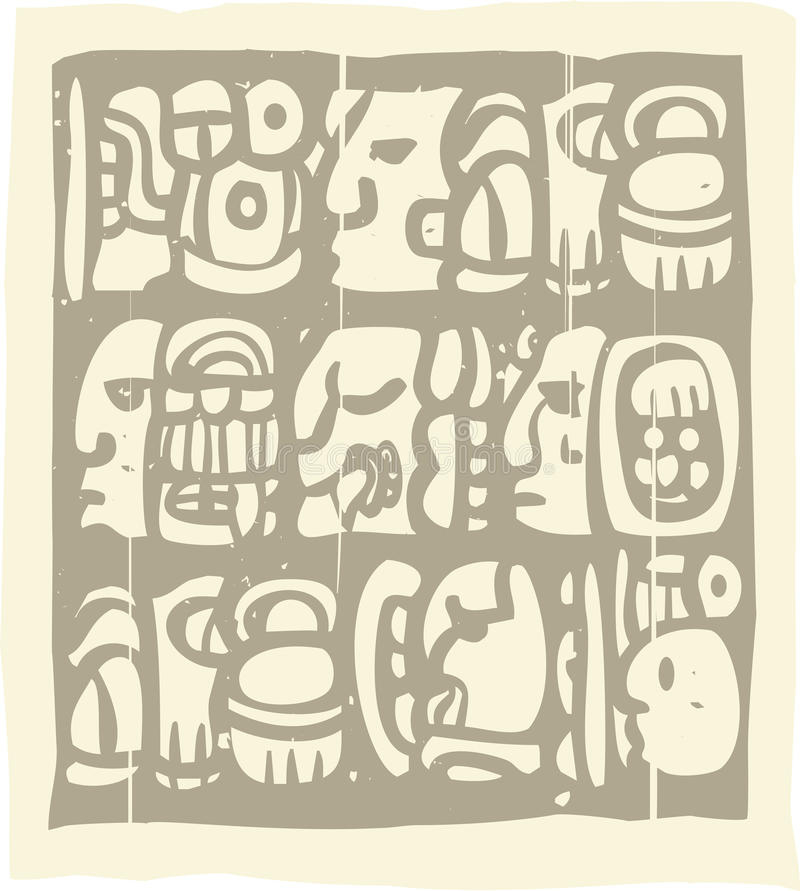 Glyphs mayas Woodblock libre illustration