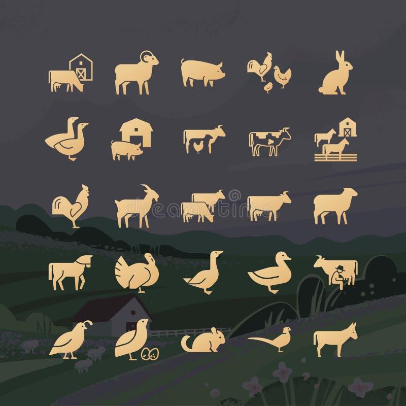 Glyphs modernos de ícones dos animais de exploração agrícola de 25 ícones tirados no vetor e isolados ilustração royalty free