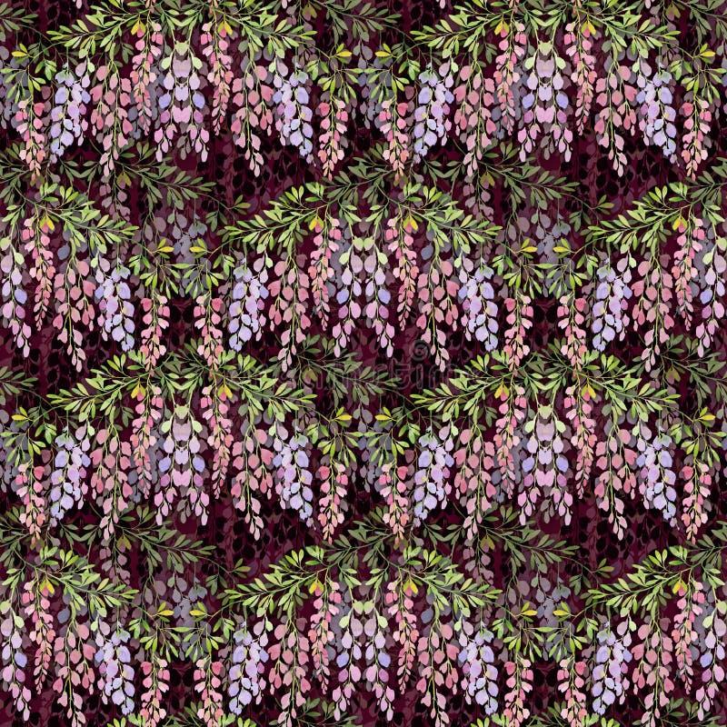 Glyzinie blüht nahtloses Muster auf Rotweinhintergrund, Aquarellillustration stock abbildung