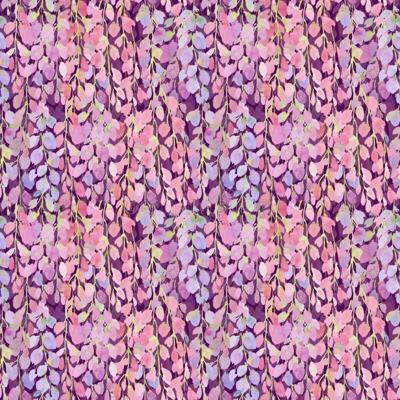 Glyzinie blüht rosa nahtloses Muster, Aquarellillustration vektor abbildung