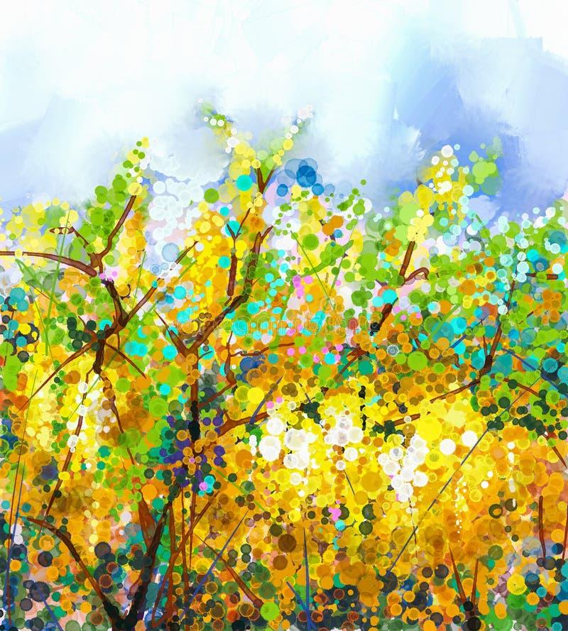 Glyziniebaum Blumen des Frühlinges gelber Landschaft mit Fluss und Wald vektor abbildung