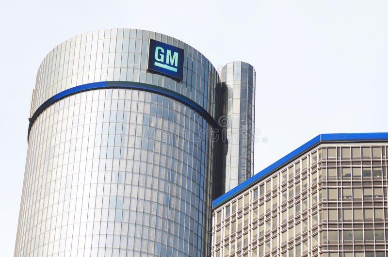 Gm-byggnadshögkvarter i i stadens centrum Detroit fotografering för bildbyråer
